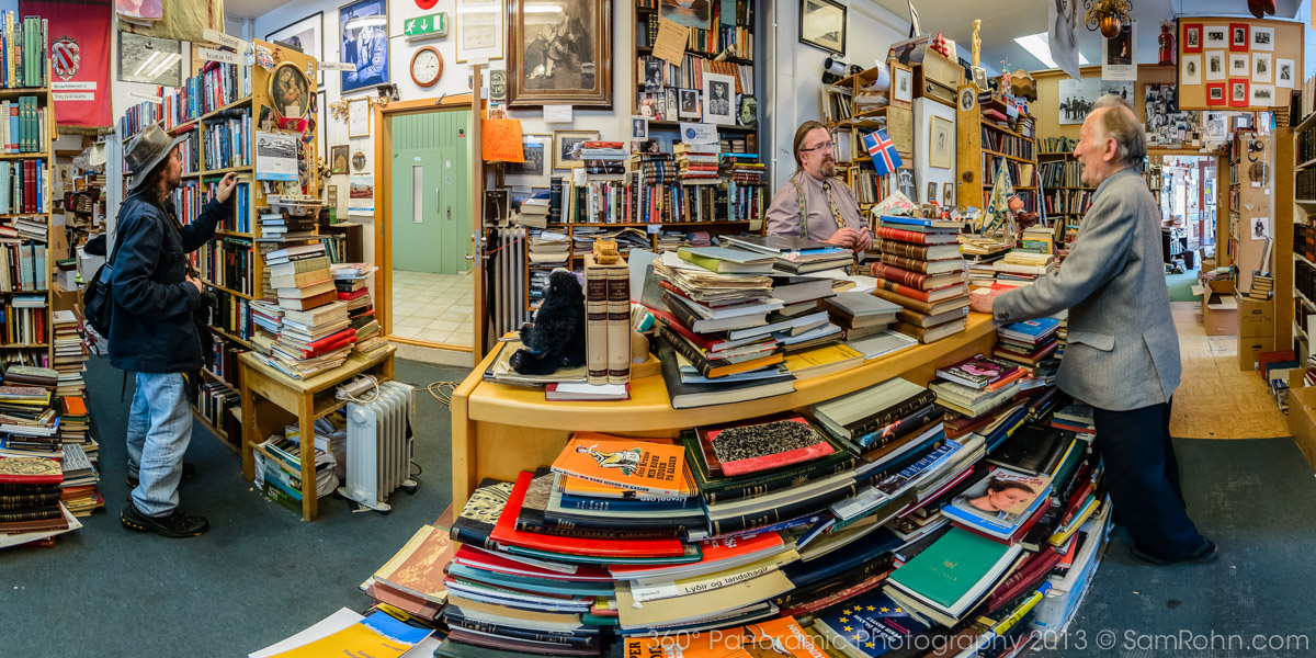 Interior of Icelandic bookstore, Bókin, by Sam Rohm.