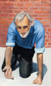 Crawling Man, Oil on Board, 40 X 24, Sold