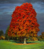 Reading Under the Red Tree, 58 X 55, Sold