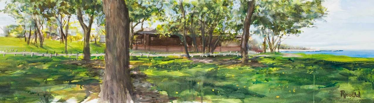 Theater on the Lake (Fresh Air Fund Sanitarium), Watercolor and Gouache on Paper, 12 X 48, Sold