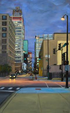 Twilight on Van Buren, Oil on Board, 60 X 38