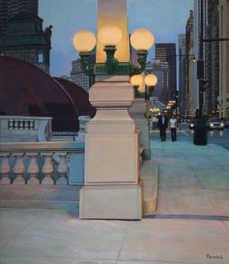 Twilight on the LaSalle Street Bridge, 84 X 72