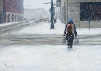 Walking in the January Snow, 17 X 25