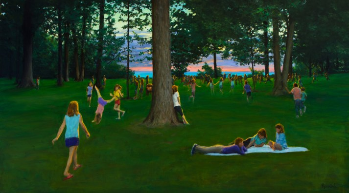 Children playing in a park with the sunrising