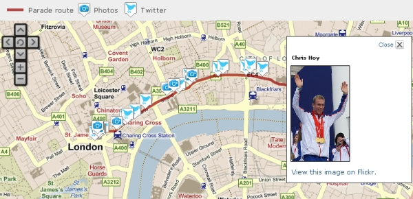Carte interactive de la BBC (Olympic and Paralympic Heroes Parade)
