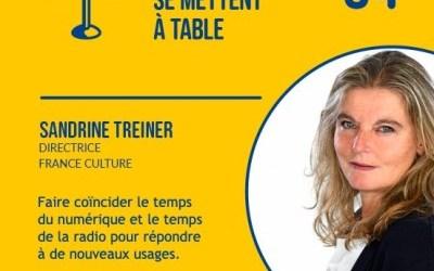 Sandrine Treiner : « Faire coïncider le temps du numérique et le temps de la radio pour répondre à de nouveaux usages » – [Podcast – Les médias se mettent à table]