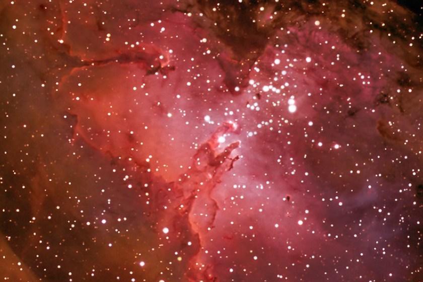 "Eagle Nebula M16 NGC 6611, Crop image highligthening the Pillars of Creation"""