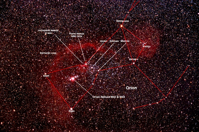 Orion Constellation Wide Field labeled
