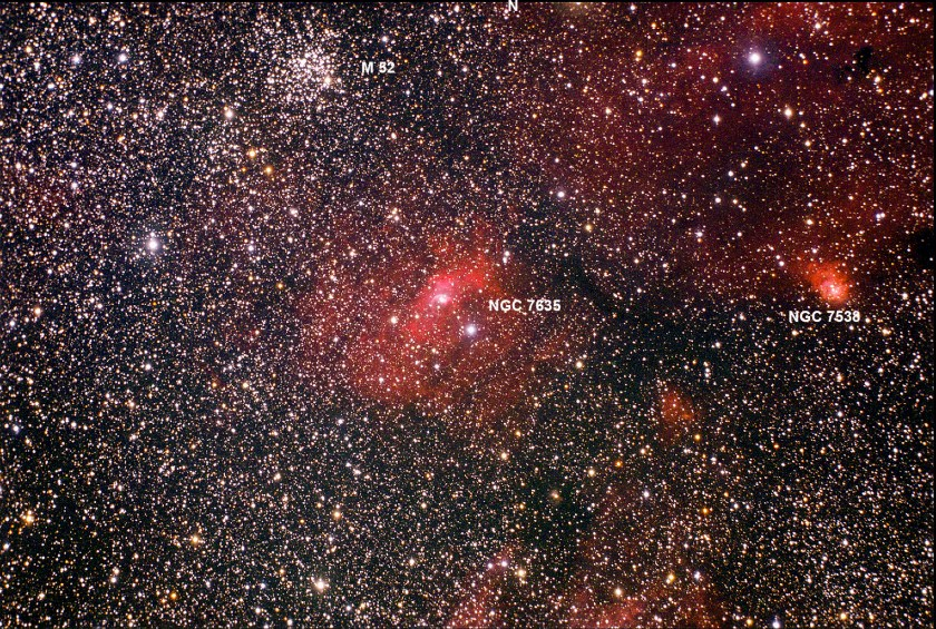 The Bubble Nebula NGC 7635, Open Star Cluster M52 and NGC 7538 . Taken with 80mm telescope