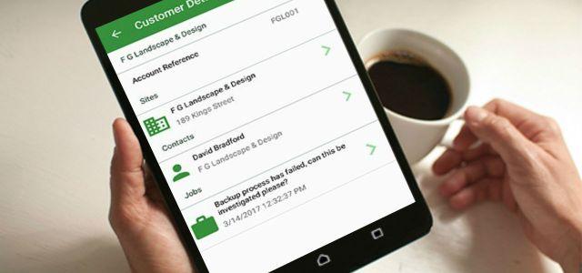 Mobile App showing customer details