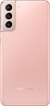 Galaxy S21 Plus 5G in Phantom Pink, seen from the rear.