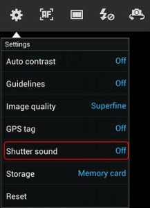 how to disable camera shutter sound
