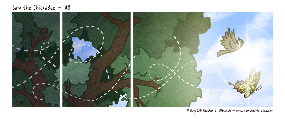 A more illustrative comic. The panels show the branches of a tree against the sky, with dotted lines looping through them. In the final panel, lit up against the sun, we see the lines show the path of Sam and a tiger swallowtail butterfly, who were happily flying together.