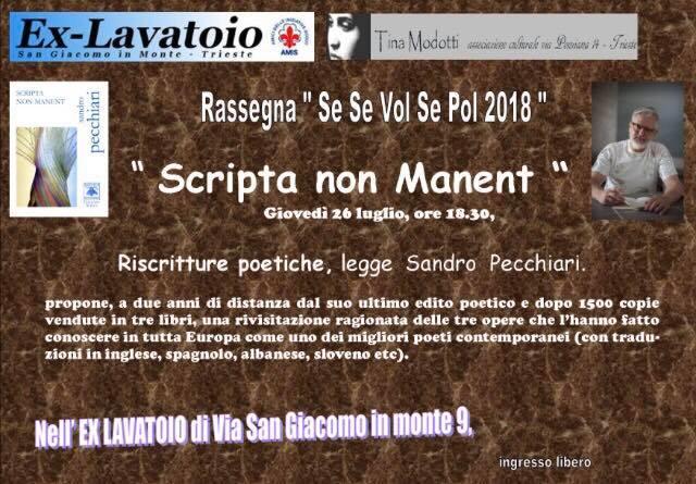 Scripta non manent all'ex lavatorio di Trieste – 26 luglio