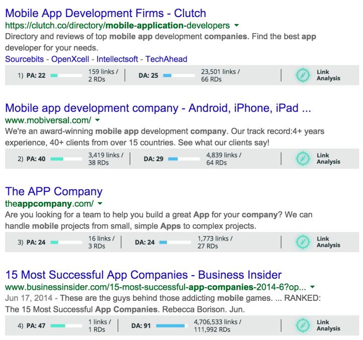 mobile app serps