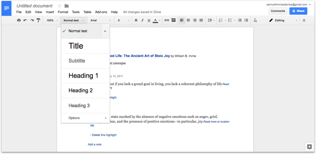 Normal Text in Google Docs