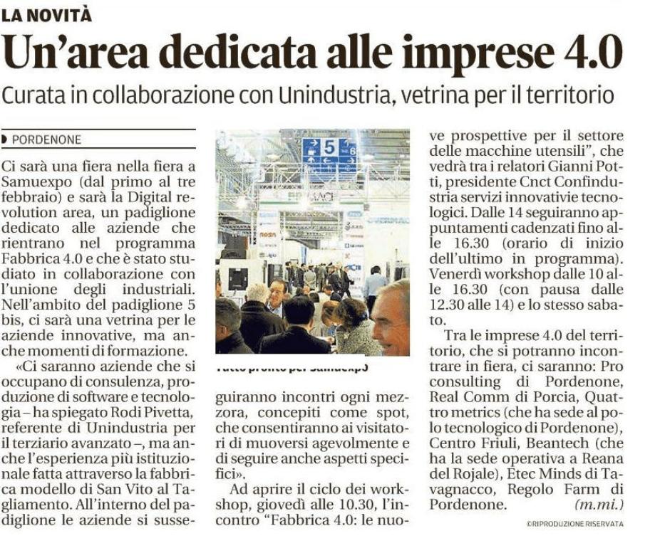 messaggero veneto Messaggero Veneto   30/01/2018