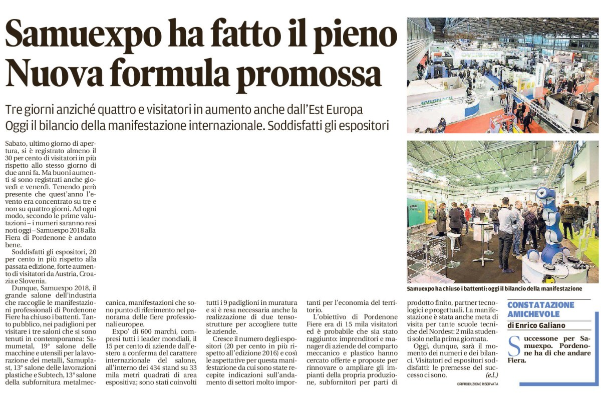 messaggero conclusivo 1 Messaggero Veneto   05/02/2018