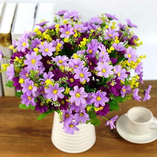 1 Bouquet 28 Heads Artificial Daisy Silk Cloth Flower