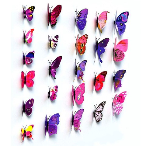 Home Decoration 3D Decals Purple Butterfly Wall Stickers