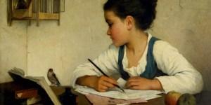 Browne,_Henriette_-_A_Girl_Writing;_The_Pet_Goldfinch_-_Google_Art_Project-
