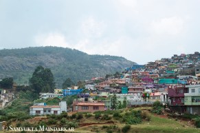 A hillside of colourful houses in Southwick, Ooty