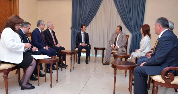 President al-Assaf-Armenian delegation