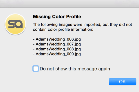 "Pixellu SmartAlbums 2 Error message: ""Missing Color Profile"""