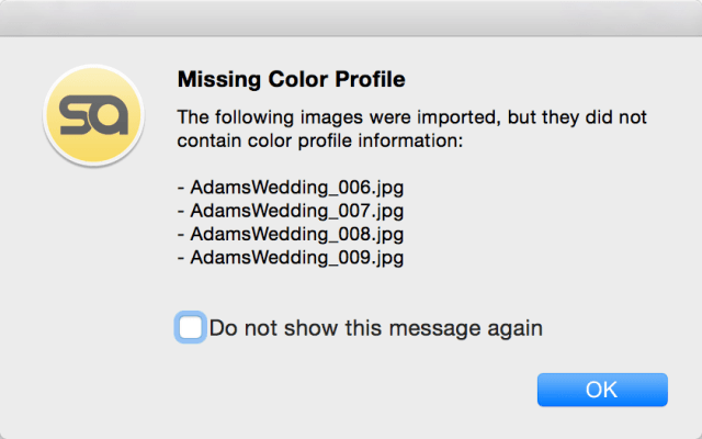 Pixellu SmartAlbums 2 Error message: Missing Color Profile