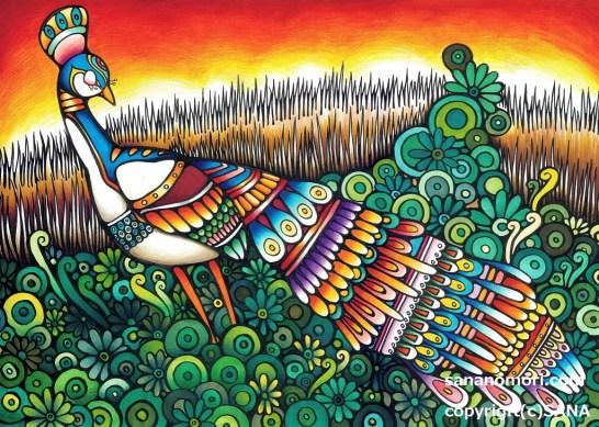 孔雀と夕陽
