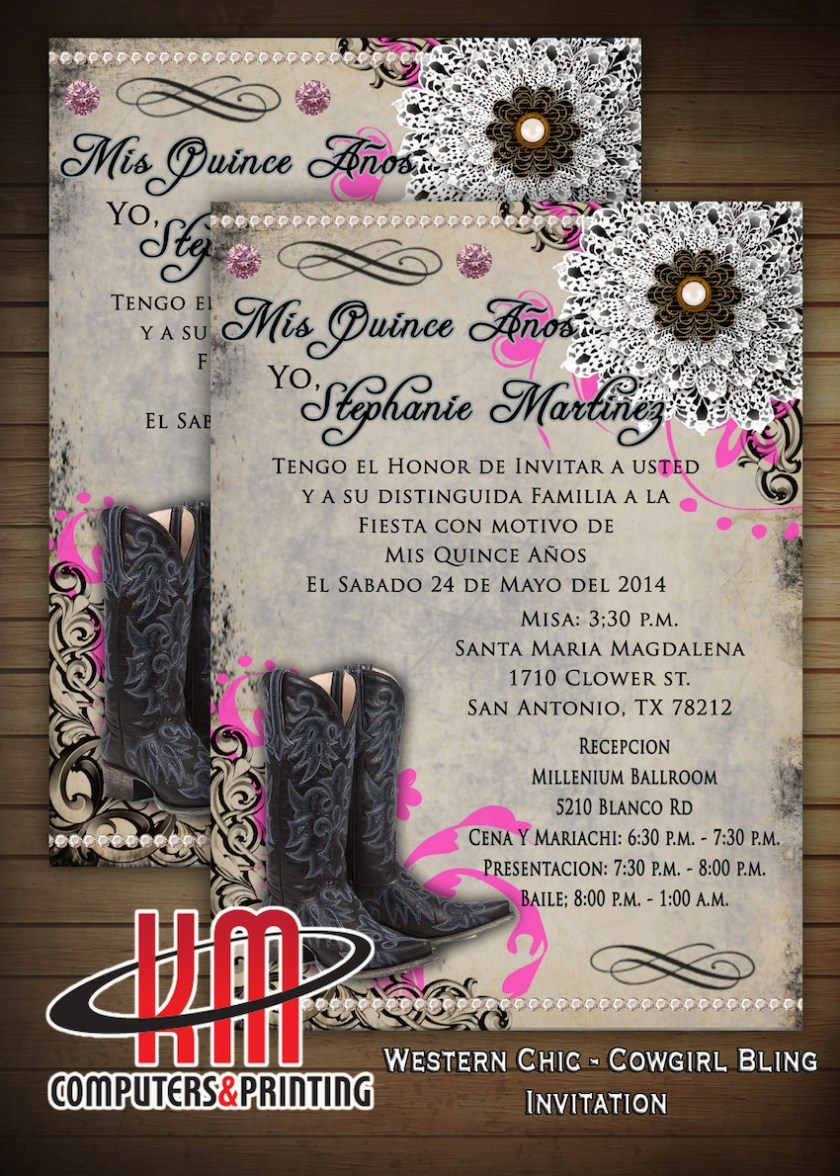 Km Print Quinceanera Invitations