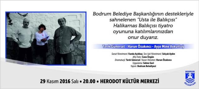 """""""Usta ile Balıkçısı"""" 29 Kasım'da  Bodrum Herodot Kültür Merkezi'nde Seyirci İle Buluşuyor"""
