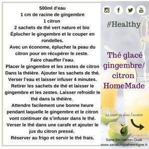 Thé glacé gingembre citron healthy