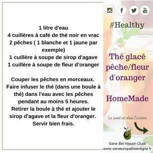 Thé glacé pêche fleur d'oranger healthy