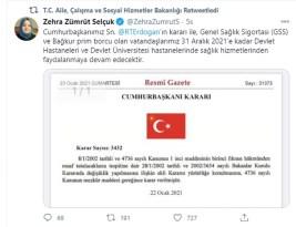Çalışma Bakanı müjdeyi tweetle duyurdu