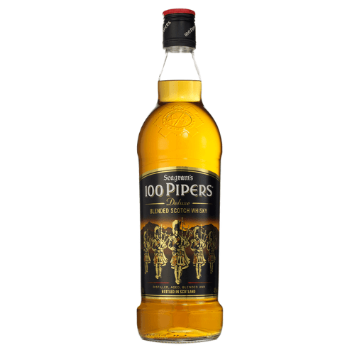 Botella de whisky 100 pipers