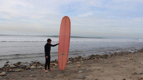 """Denny Michael of the Surfing Heritage Foundation stands with the subject of his new Surfing Heritage TV video """"The Big Pink Hobie"""" at Trestles. Photo by Linda Michael"""