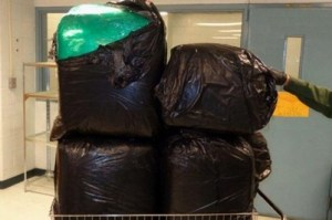 Border Pagents discovered nearly 200 pounds of marijuana in these bags during a stop Wednesday night. Courtesy photo.