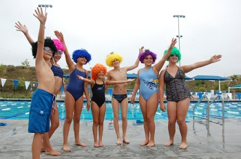 Participants at the Swim 4 A Cure event pose before jumping in the water at the Vista Hermosa Aquatics Center on June 8. Courtesy photo