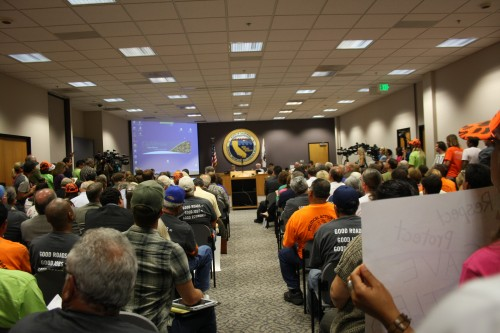 Every seat was filled and it was standing room only along the walls and at the back of the room as the San Diego Regional Water Quality Control Board, on June 19, discussed whether to grant the TCA a permit for a 5.5-mile extension to the SR-241 toll road. Photo by Andrea Swayne