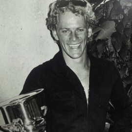 """Peter """"PT"""" Townend with his World Champion trophy in 1976. Photo courtesy of the PT Collection"""