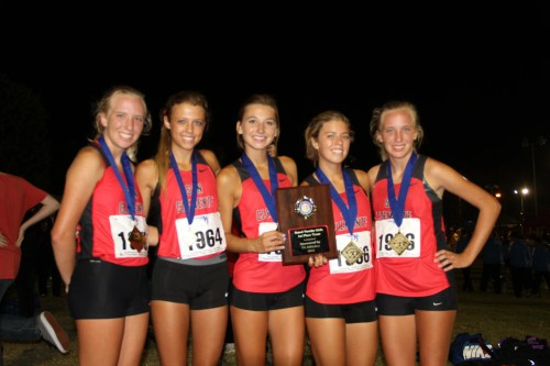 (From L to R) Katie Carroll, Amber Eisele, Gracie Georgi, Melissa Eisele and Kelsey Carroll led the San Clemente girls cross country team to a first-place finish at the Woodbridge-Estancia rated meet race on September 21. Courtesy photo