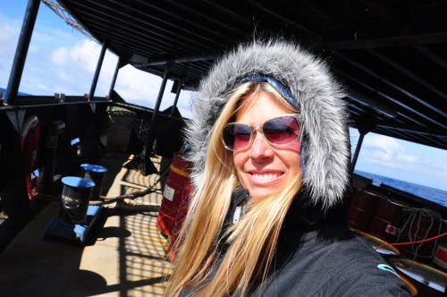 """San Clemente resident Erin Calmes recently completed three months at sea as the producer of the sixth season of the television show """"Whale Wars."""" Courtesy photo"""