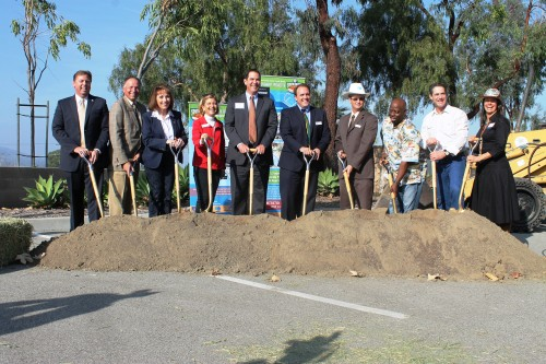 Local and county officials broke ground Wednesday for the Orange County Transit Authority's I-5 widening project. Photo by Andrea Papagianis