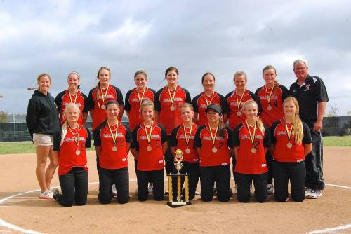 The San Clemente girls softball team poses with their Foothill Roundup Tournament championship trophy. Courtesy photo