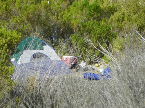 Camp sites set up in open space areas in Rancho San Clemente have residents concerned about the potential for a homeless shelter in the area. Photo courtesy of Vonne Barnes.