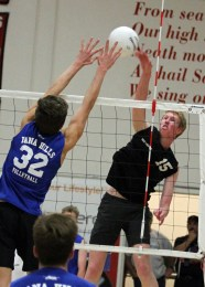 Senior Peter Van Liefde, seen here in a match against Dana Hills, and the San Clemente boys volleyball team defeated Northwood on May 13. Photo: Lynn Hopper