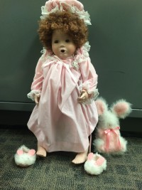 One of the dolls left on the porch of a family in Talega.