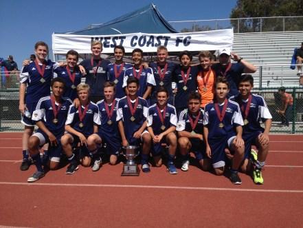 The West Coast Futbol Club's Boys 16U team won the Slammers Futbol Classic on July 20. Courtesy photo