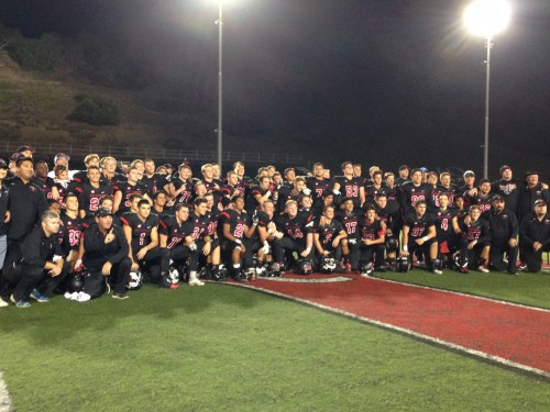 The San Clemente football team celebrates on the field after defeating Trabuco Hills on Oct. 30. Photo: Steve Breazeale